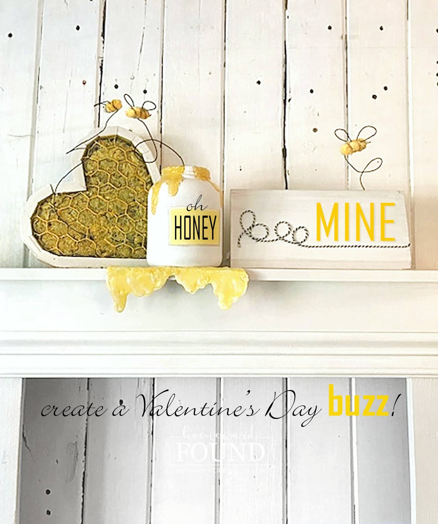 Honey bee Valentine's Day decor by Homeward Found, featured on DIY Salvaged Junk Projects 563 on Funky Junk!