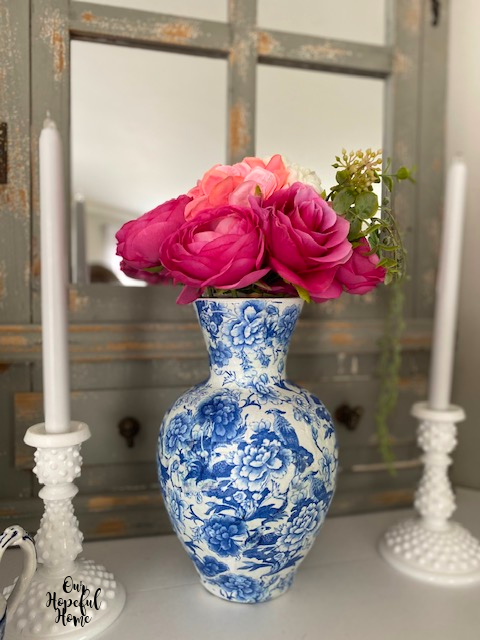 Make a DIY chinoiserie vase by Our Hopeful Home, featured on DIY Salvaged Junk Projects 566 on Funky Junk!