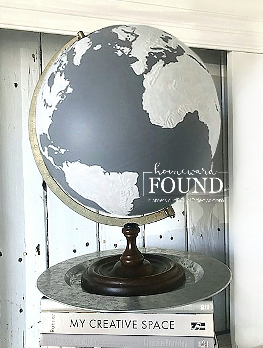 Ultimate grey painted globe by Homeward Found, featured on DIY Salvaged Junk Projects 566 on Funky Junk!