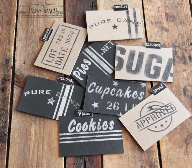 Custom recipe dividers for a recipe box by Bliss Ranch, featured on DIY Salvaged Junk Projects 565 on Funky Junk!