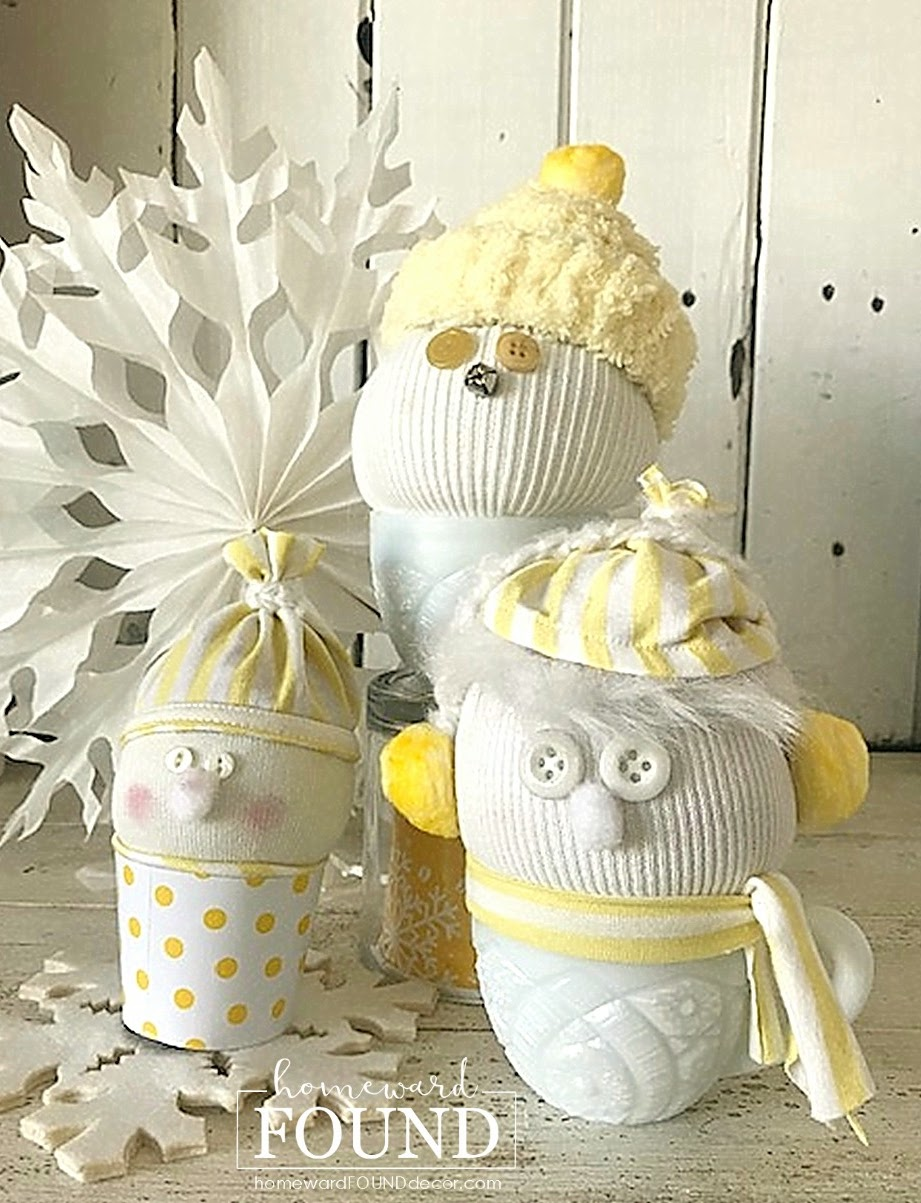 Sweater snow buddies by Homeward Found, featured on DIY Salvaged Junk Projects 565 on Funky Junk!