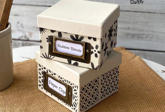 stenciled dollar store boxes