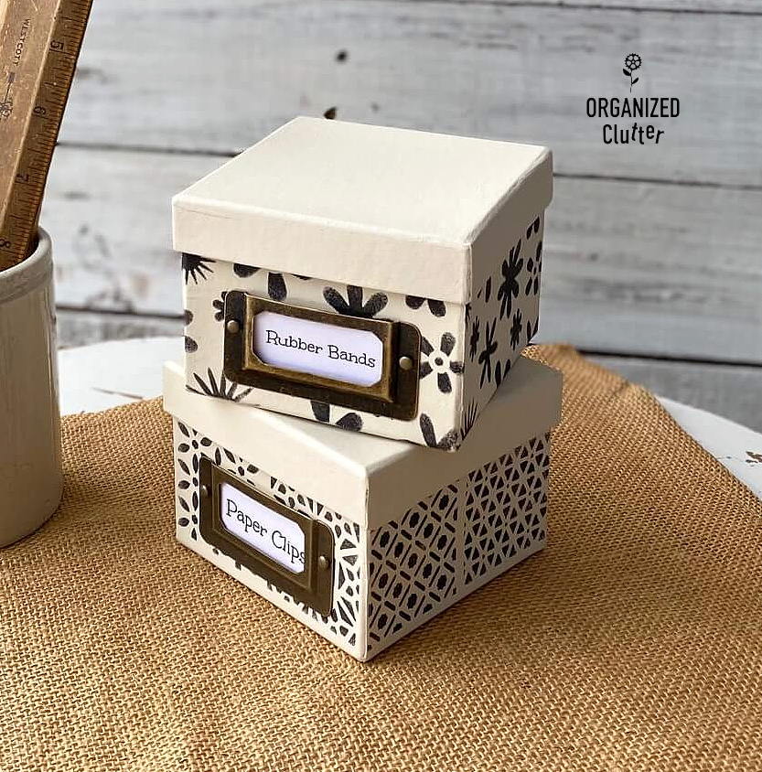 Stenciled dollar store boxes by Organized Clutter, featured on DIY Salvaged Junk Projects 564 on Funky Junk!