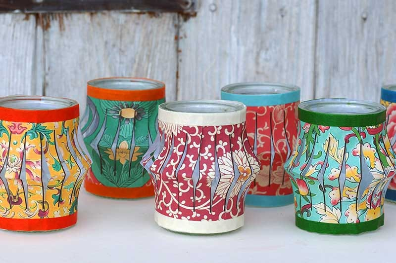 Paper lantern tea lights by Pillar Box Blue, featured on DIY Salvaged Junk Projects 563 on Funky Junk!