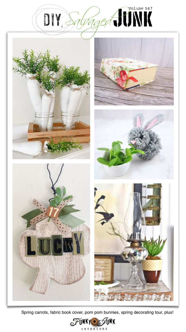 See 20+ NEW DIY Salvaged Junk Projects 567 - Spring carrots, fabric book cover, pom pom bunnies, spring decorating tour, plus! Click to learn how to make these up-cycled projects that lead to full tutorials!