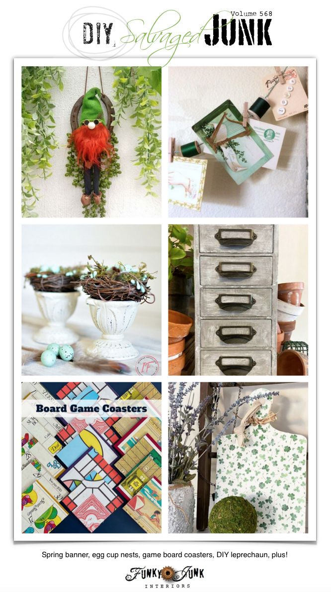 Visit 20+ NEW DIY Salvaged Junk Projects 568 - Spring banner, egg cup nests, game board coasters, DIY leprechaun, plus! Click to visit all the up-cycled project tutorials and link party on Funky Junk!