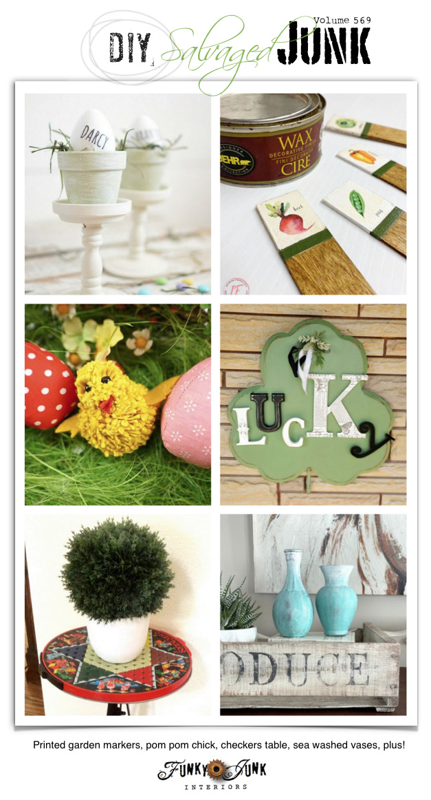 Visit 20+ NEW DIY Salvaged Junk Projects 569 - Printed garden markers, pom pom chick, checkers table, sea washed vases, plus! Click to view Up-cycled projects with a link party!