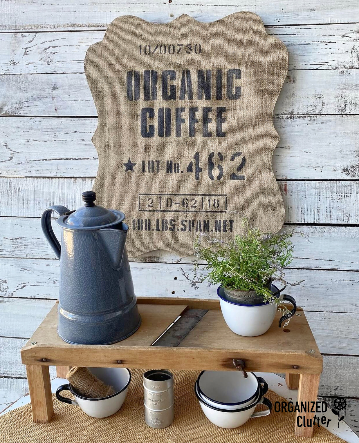 Coffee bean sack bulletin board by Organized Clutter, featured on DIY Salvaged Junk Projects 570 on Funky Junk!