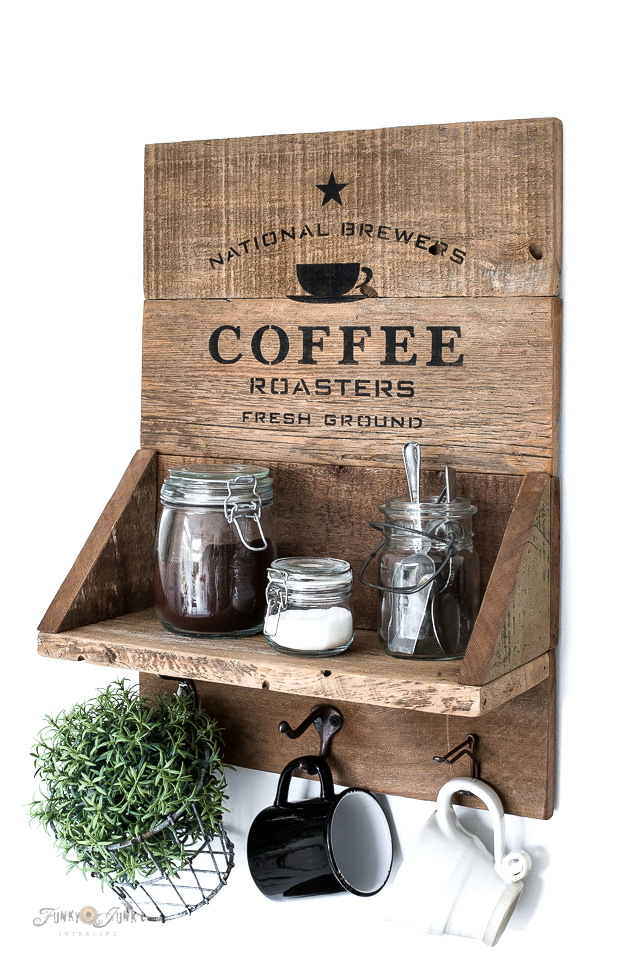 Learn how to make a rustic reclaimed wood coffee station sign shelf with mugs using a coffee stencil! Easy and compact for small kitchens! Click to read full tutorial which includes a helpful Kreg Jig how-to video.