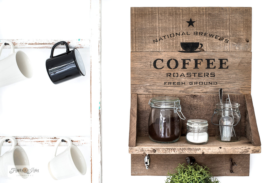 National Brewers wood coffee station sign shelf with stencils