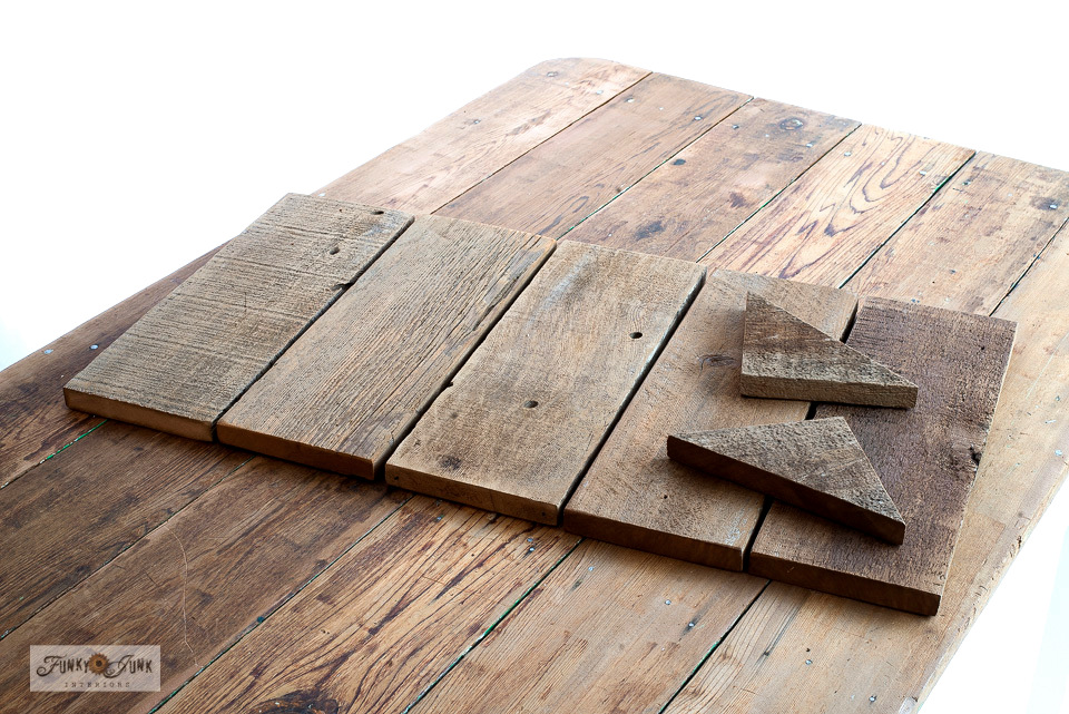 How to cut reclaimed wood to make a compact coffee sign station shelf!