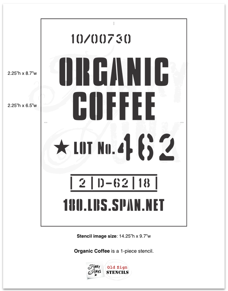 Learn how to build this easy and rustically cool Organic Coffee sign with mugs! Using a stencil styled like a burlap coffee bean sack. Click to read the full tutorial.