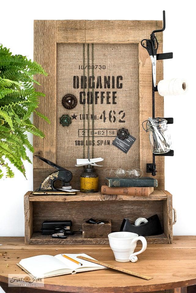 Organic coffee burlap office bulletin board sign