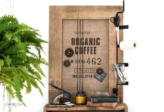 Organic coffee burlap office bulletin board sign