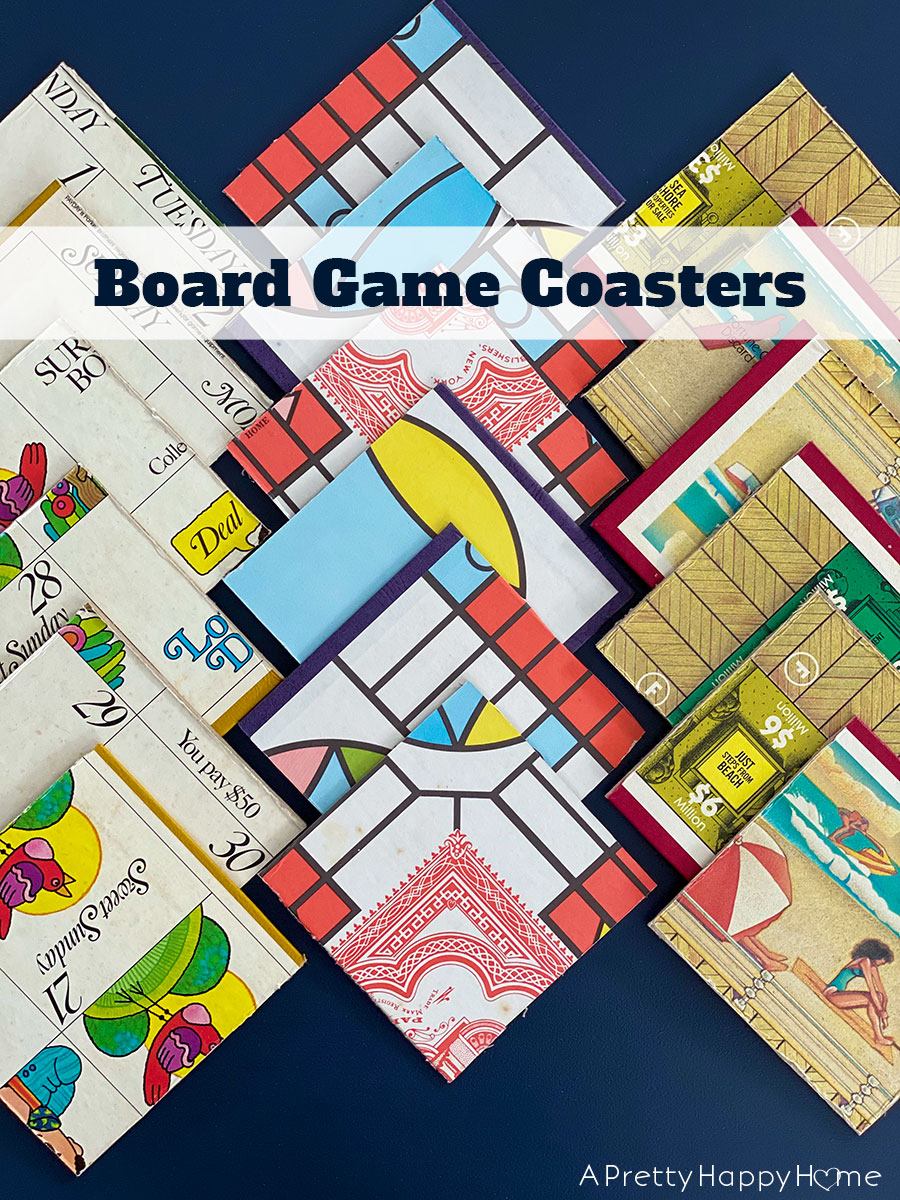 Board game coasters by A Pretty Happy Home, featured on DIY Salvaged Junk Projects 568 on Funky Junk!