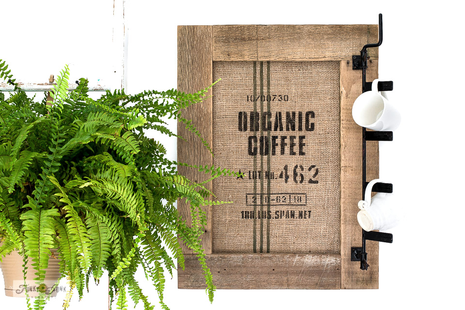 Learn how to create this charming rustic Organic Coffee bean bag styled bulletin board and coffee sign! Click to read full tutorial.