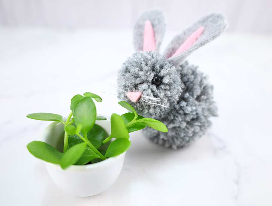 Pom pom spring bunnies by Hello Sewing, featured on DIY Salvaged Junk Projects 567 on Funky Junk!