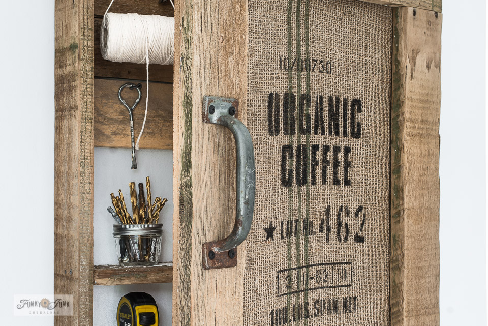Wood Organic Coffee storage cabinet with bulletin board  Hides clutter