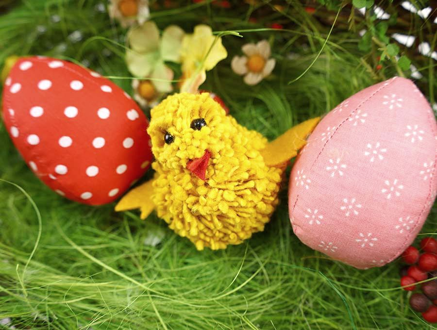 Pom pom spring chick by Hello Sewing, featured on DIY Salvaged Junk Projects 569 on Funky Junk!