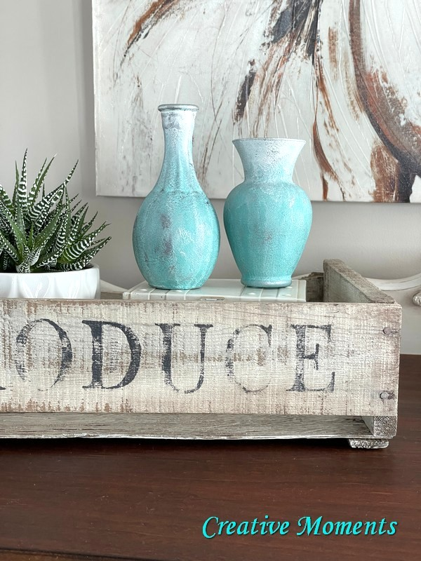 Salt washed beach glass vases by Creative Moments, featured on DIY Salvaged Junk Projects 569 on Funky Junk!