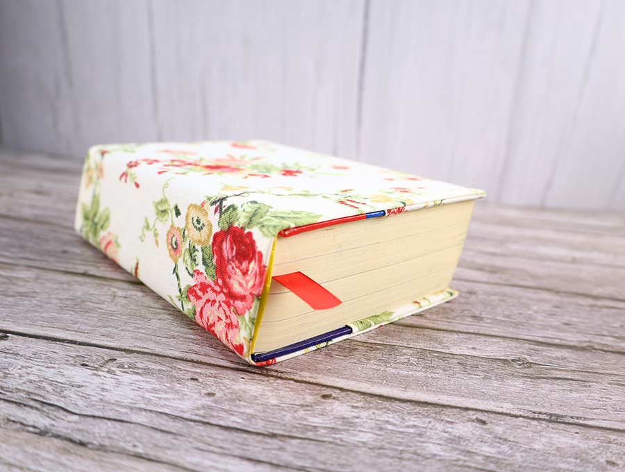 Fabric book cover by Hello Sewing, featured on DIY Salvaged Junk Projects 567 on Funky Junk!