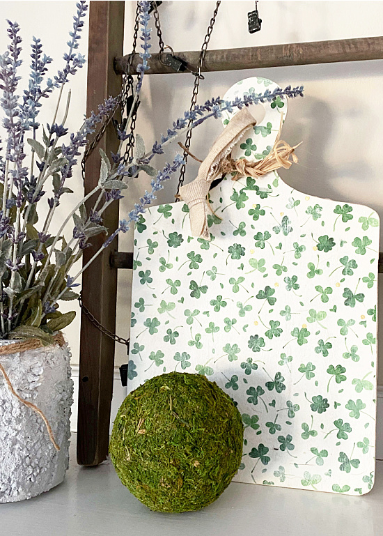 Shamrock cutting board by Homeroad, featured on DIY Salvaged Junk Projects 568 on Funky Junk!