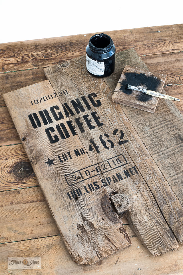 Learn how to build this easy and rustically cool wood Organic Coffee sign with mugs! Using a stencil styled like a burlap coffee bean sack. Click to read the full tutorial.