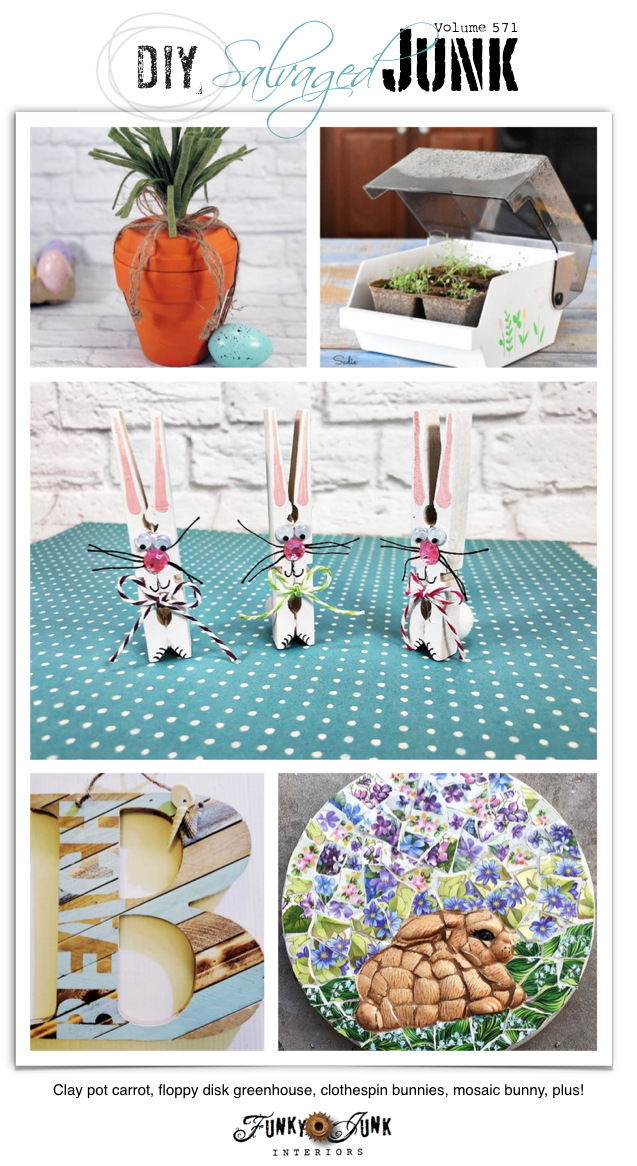 Visit 20+ NEW DIY Salvaged Junk Projects 571 - Clay pot carrot, floppy disk greenhouse, clothespin bunnies, mosaic bunny, plus! Upcycled projects with a link party on Funky Junk! Click to join in!