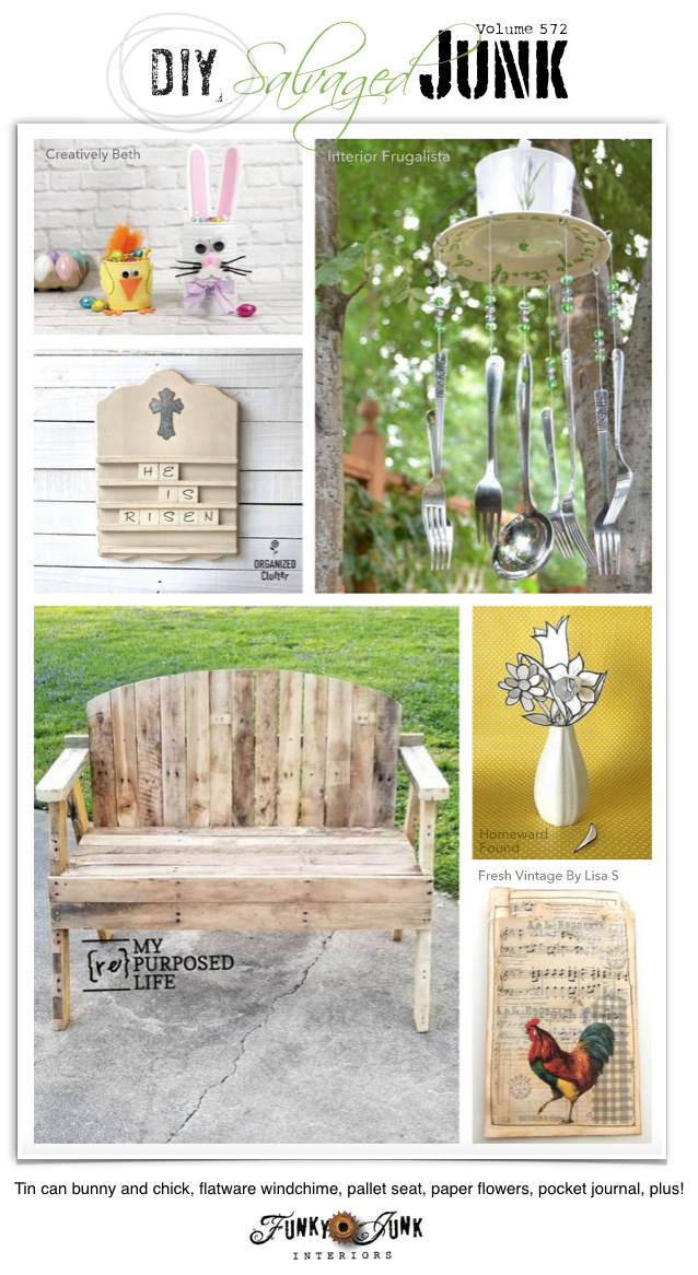 Visit 20+ NEW DIY Salvaged Junk Projects 572 - Tin can bunny and chick, flatware wind chime, pallet seat, paper flowers, pocket journal, plus! Click to visit upcycled projects to make!