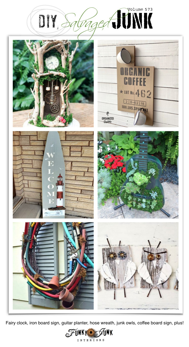 Visit 20+ NEW DIY Salvaged Junk Projects 573 - Fairy clock, iron board sign, guitar planter, hose wreath, junk owls, coffee board sign, plus! Up-cycled projects with link party on Funky Junk! Click to join!