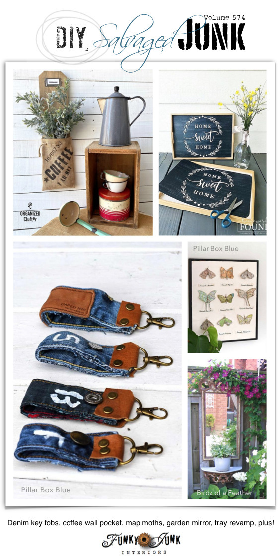 Visit 20+ NEW DIY Salvaged Junk Projects 574 - Denim key fobs, coffee wall pocket, map moths, garden mirror, tray revamp, plus! Upcycled projects and link party on Funky Junk! Click to join in!