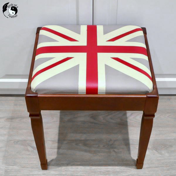 Painting British flag on vinyl by Birdz of a Feather, featured on DIY Salvaged Junk Projects 575 on Funky Junk!
