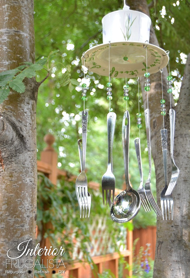 Flatware garden wind chime by Interior Frugalista, featured on DIY Salvaged Junk Projects 572 on Funky Junk!