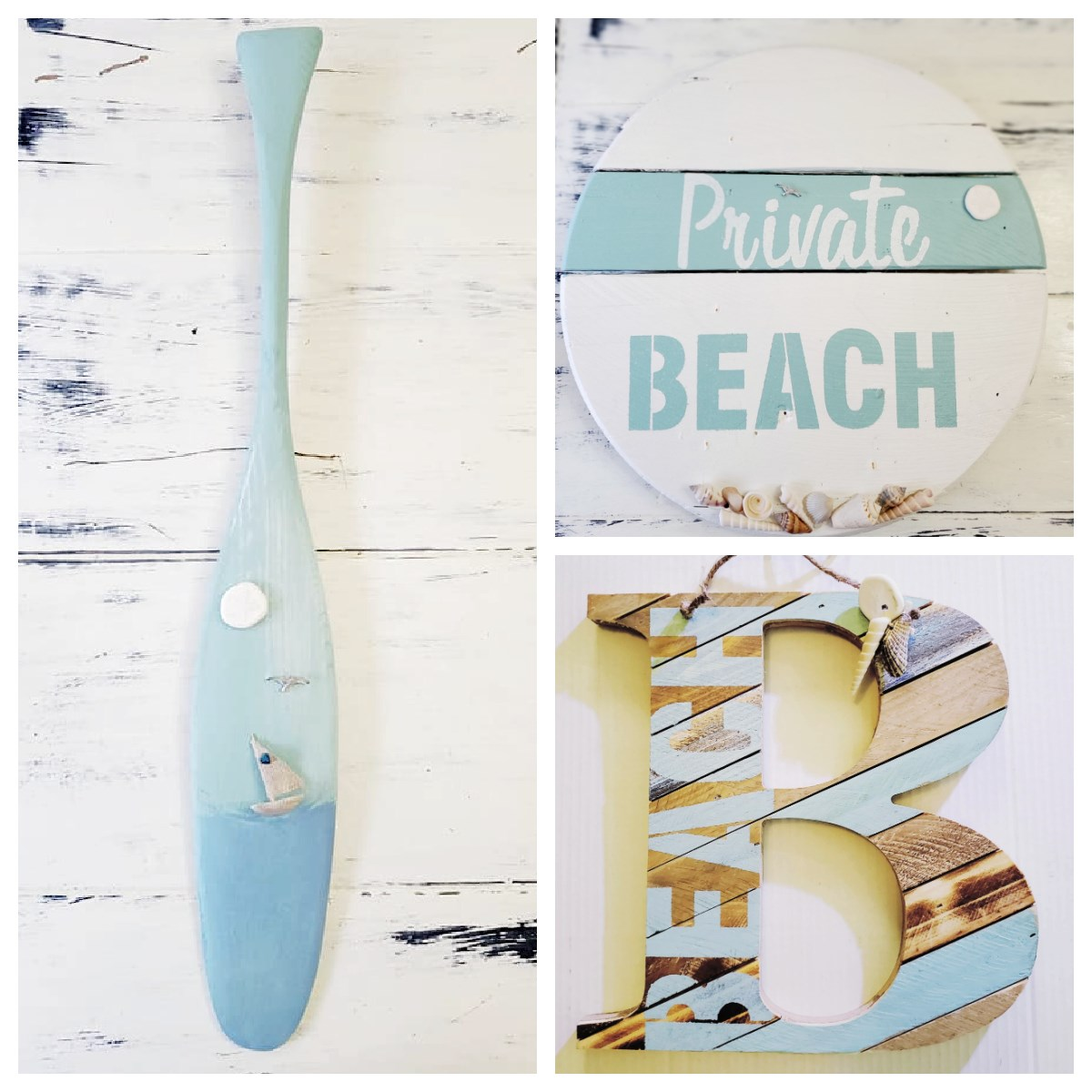 Upcycled beach crafts by Junky Encores on Facebook, featured on DIY Salvaged Junk Projects 571 on Funky Junk!