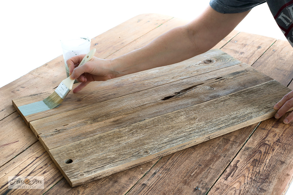 How to paint reclaimed wood with Milk Paint by Fusion while creating a garden-themed wood tray! Click to read full tutorial!