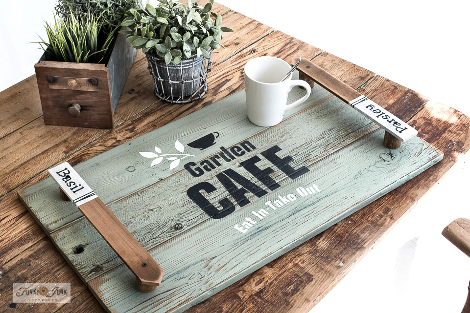 Learn how to build a wood outdoor tray with garden label handles using Funky Junk's Old Sign Stencils and Milk Paint by Fusion! Perfect for spring decorating! Click to read full tutorial.