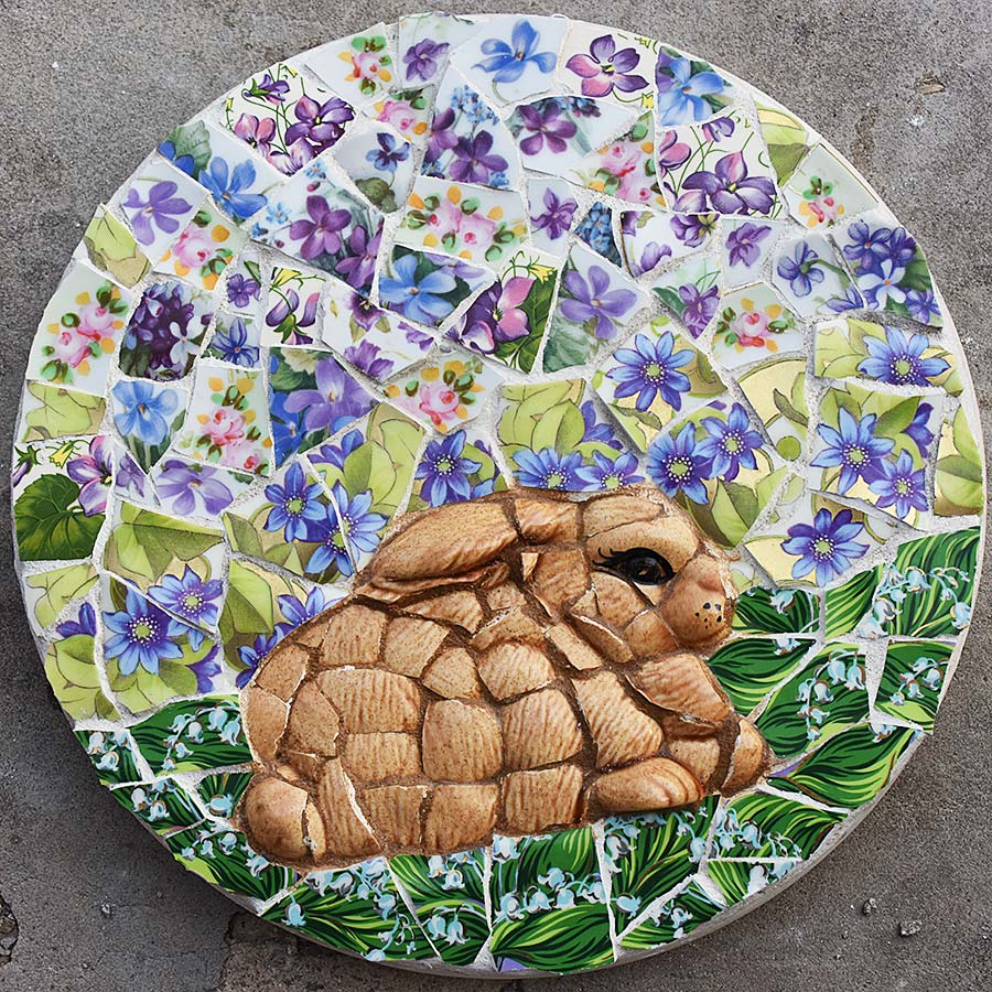 Bunny mosaic by Selep Imaging, featured on DIY Salvaged Junk Projects 571 on Funky Junk!