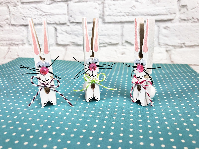 Clothespin Easter bunnies by Creatively Beth, featured on DIY Salvaged Junk Projects 571 on Funky Junk!