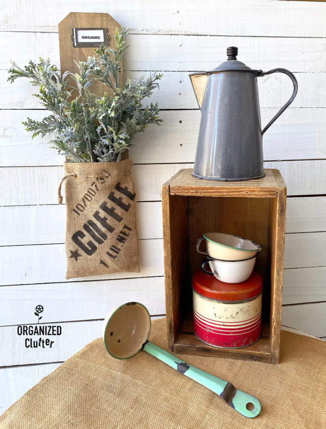 Coffee bean sack wall pocket by Organized Clutter, featured on DIY Salvaged Junk Projects 574 on Funky Junk!
