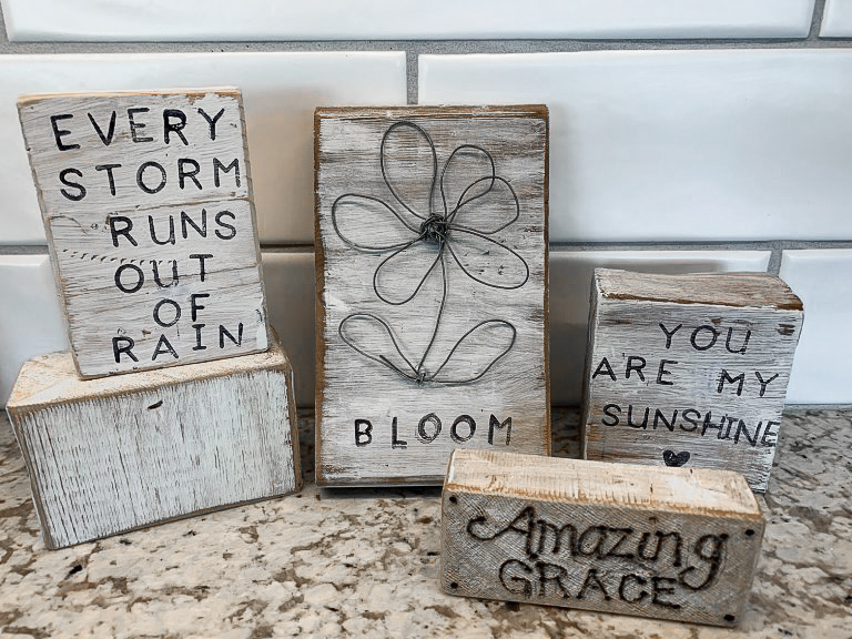 DIY rustic wood block mini signs by The House on Silverado, featured on DIY Salvaged Junk Projects 575 on Funky Junk!