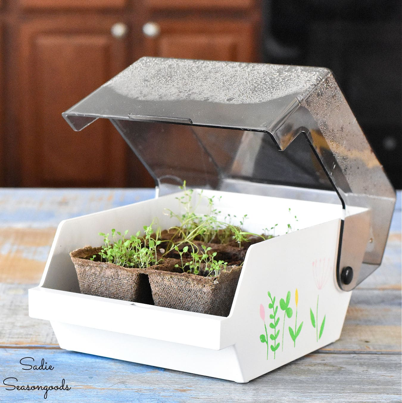 Floppy disk case greenhouse by Sadie Seasongoods, featured on DIY Salvaged Junk Projects 571 on Funky Junk!