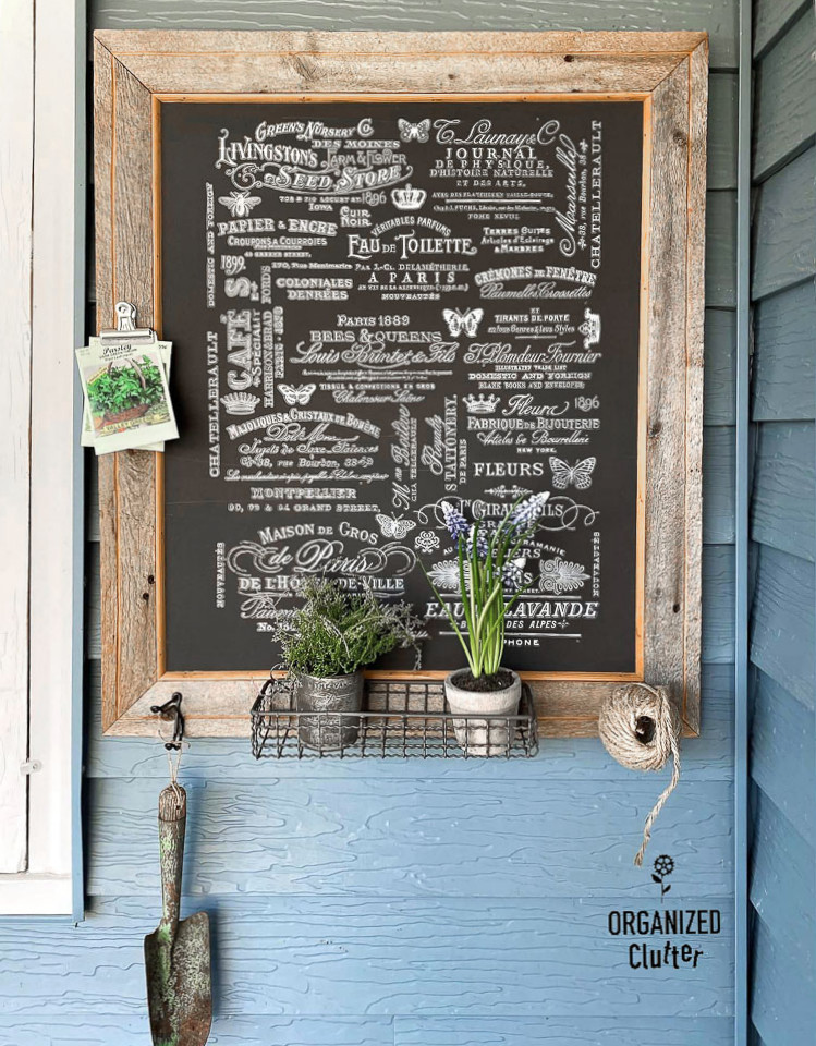 Barnwood garden art chalkboard by Organized Clutter, featured on DIY Salvaged Junk Projects 575 on Funky Junk!