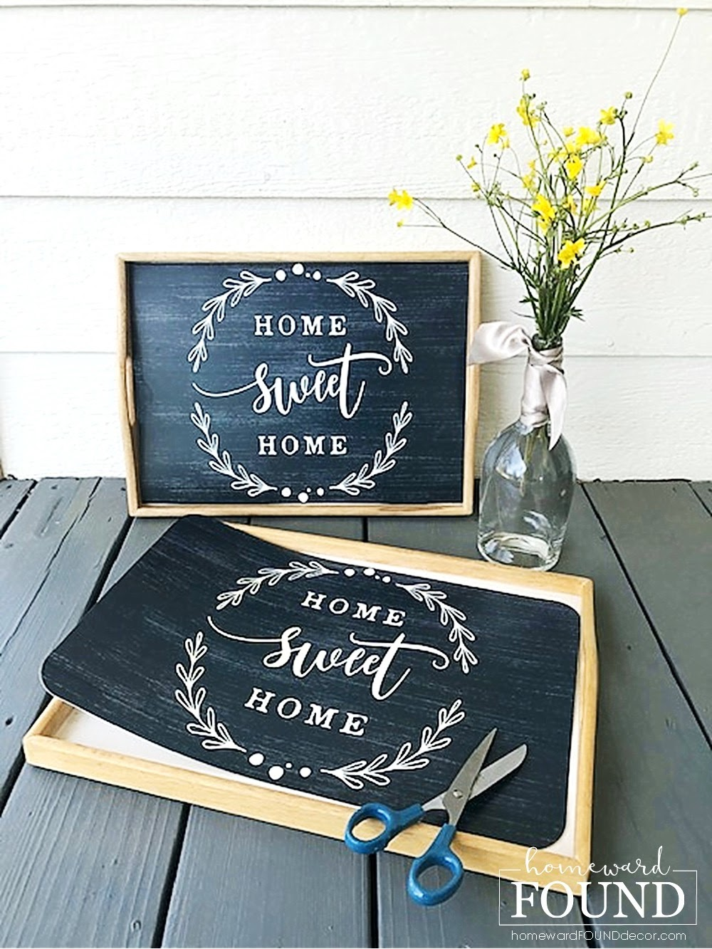 Kitchen tray DIY by Homeward Found, featured on DIY Salvaged Junk Projects 574 on Funky Junk!