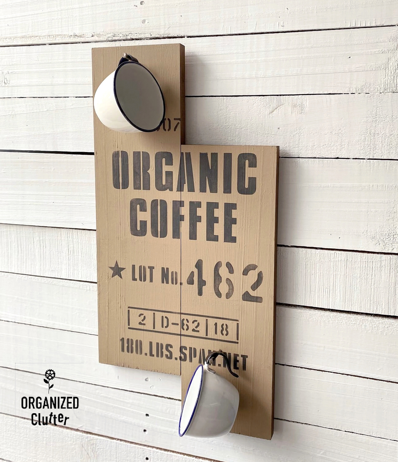 2 board Organic coffee wood sign by Organized Clutter, featured on DIY Salvaged Junk Projects 573 on Funky Junk!