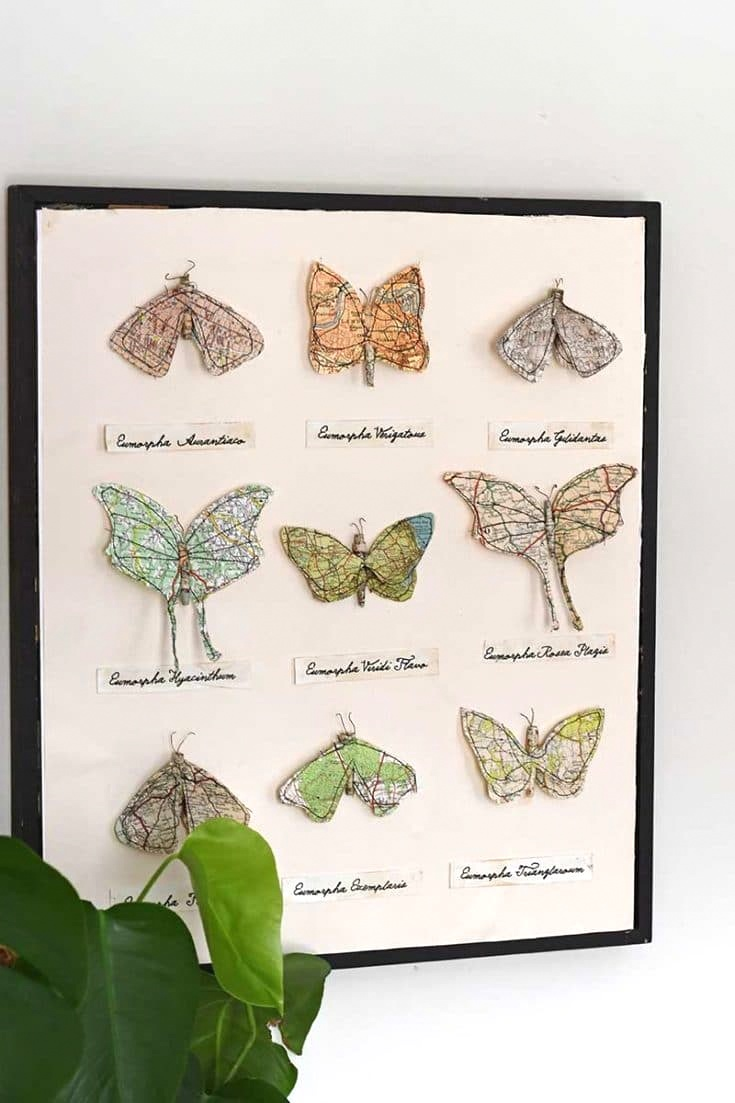 Upcycled paper map moth wall art by Pillar Box Blue, featured on DIY Salvaged Junk Projects 574 on Funky Junk!