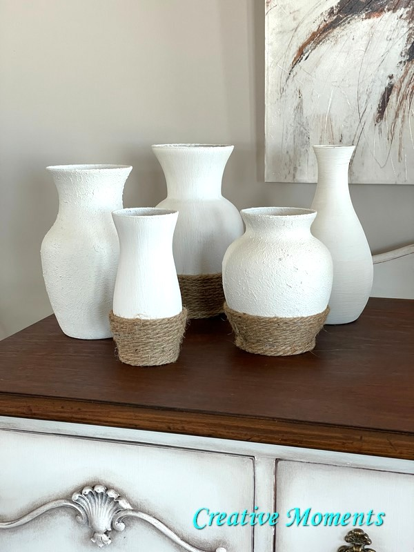 DIY faux cement vases by Creative Moments, featured on DIY Salvaged Junk Projects 575 on Funky Junk!