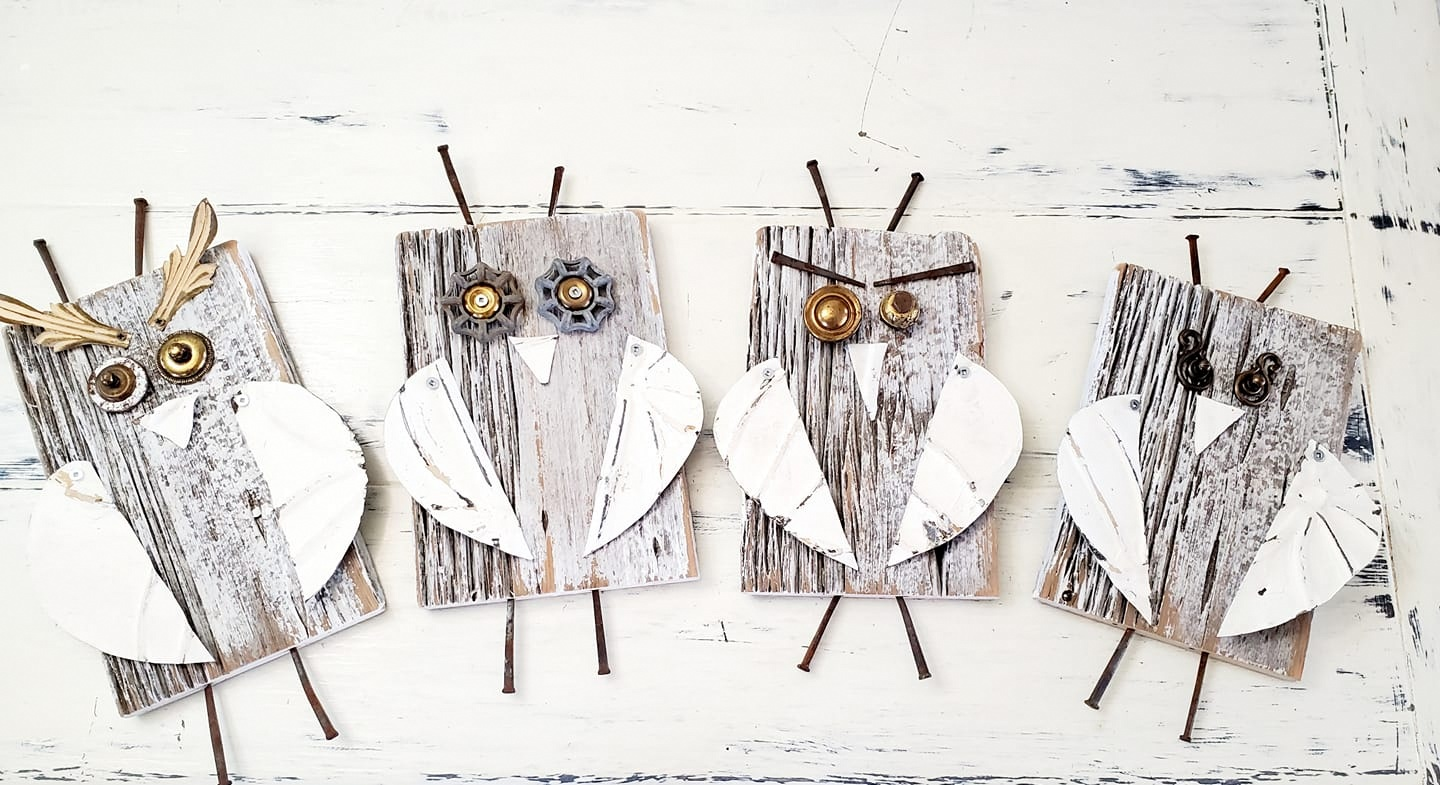 Salvaged junk owls by Junky Encores, featured on DIY Salvaged Junk Projects 573 on Funky Junk!