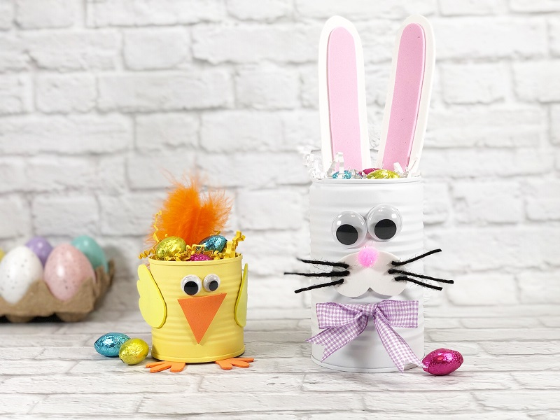 Tin can spring bunny and chick by Creatively Beth, featured on DIY Salvaged Junk Projects 572 on Funky Junk!