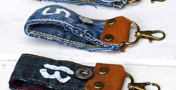 upcycled denim key fobs
