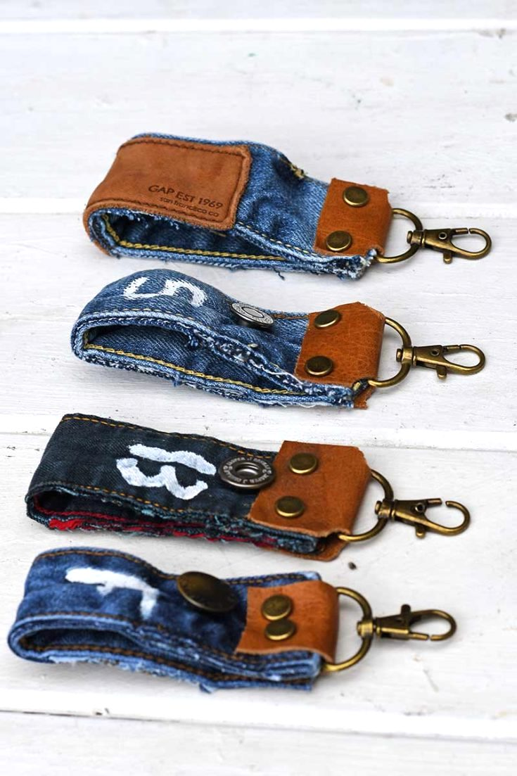 Upcycled denim key fobs by Pillar Box Blue, featured on DIY Salvaged Junk Projects 574 on Funky Junk!